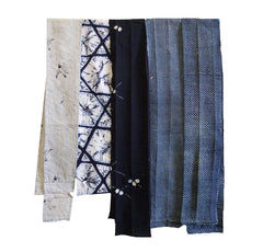 A Group of Five Narrow Yukata/Kimono Fragments: Shibori and Katazome