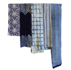 A Set of Five Narrow Cotton Shibori Pieces: Hemp and Cotton