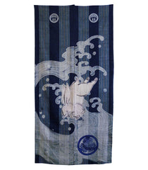 "An Unusual and Beautiful ""Tsutsugaki Dyed"" Panel: Rabbits and Waves on Woven Stripes"