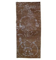 A Thickly Woven Stenciled 19th Century Fragment: Rabbit and Shrimp