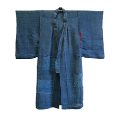 A Boro, Overdyed Child's Asa Kimono: Edo Komon Patches