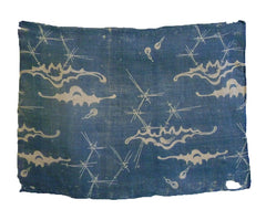 A 19th Century Katazome Dyed Ramie Cloth: Bats, Pine Needles, Gourds
