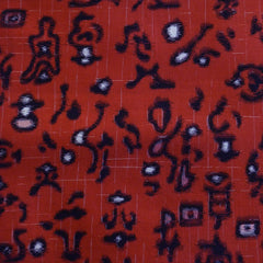 A Length of Red Colored Meisen Silk: Dark Markings