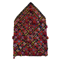 An Exuberantly Decorated Rajasthani Pouch: Pompoms, Mirrors, Beads