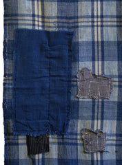 A Long Panel of Very Patched Plaid Cotton: Hand Spun Yarns
