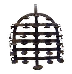 A Folk Art Iron Festival Lamp from Bastar, India: Delicately Rusted