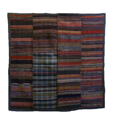A Sakiori Kotatsugake: Rag Woven Hearth Cover in Rich Colors