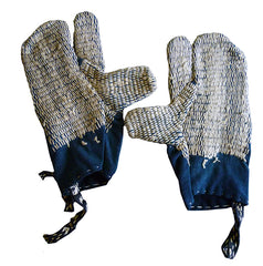 A Pair of Sashiko Stitched Mittens: Rustic Hand Guards