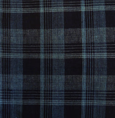 A Length of Blue on Blue Checked Cloth: 19th Century Sankuzushi