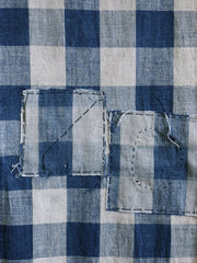 A Long Panel of Hand Loomed Checked Cotton: Patches