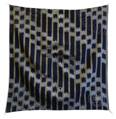 A Finely Sashiko Stitched Furoshiki: Kasuri Cotton and Beautifully Stitched Trim