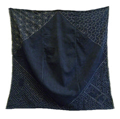 A Small Sashiko Stitched Boro Furoshiki: Four Stitched Corners