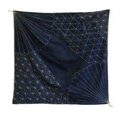 A Beautifully Sashiko Stitched Indigo Dyed Furoshiki: Good Motifs