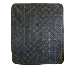A Finished Sashiko Stitched Mat: Faded Black/ Grey Cotton