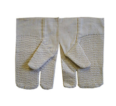 "A Pair of Undyed Cotton Sashiko Stitched ""Mittens"""