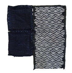 A Group of Three Sashiko Fragments: Tohoku Stitching