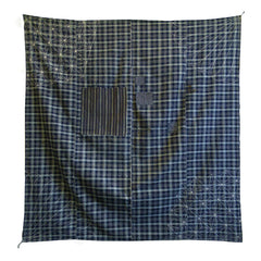 A Superbly Beautiful Sashiko Furoshiki: Plaid Base Cloth and Patches