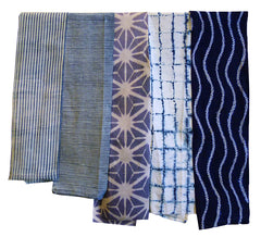 A Group of Five Shibori Pieces: Narrow Fragments