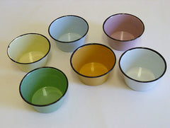 A Set of Six Enameled Metal Cups from Pakistan: Beautiful Color Palette