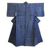 A Hand Stitched Shibori Cotton Yukata: Dense Checks