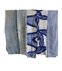 A Set of Five Shibori Kimono Pieces: Indigo Dyed Cotton