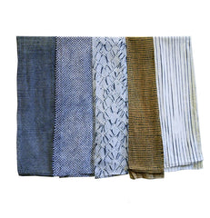A Group of Five Narrow Shibori Lengths: Varied Techniques
