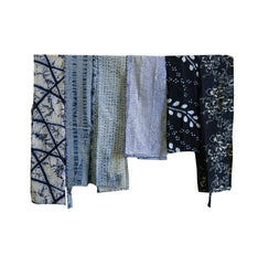 A Group of Six Odd Shaped Narrow Cotton Pieces: Shibori and Katazome