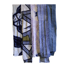 A Group of Five Narrow Shibori Pieces: Cotton