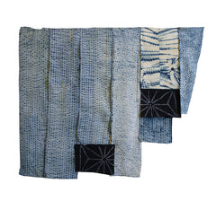 A Group of 10 Indigo Dyed Cotton Shibori Fragments: Taiten and Others
