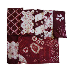 A Group of Seven Red and White Shibori Fragments: Small Pieces