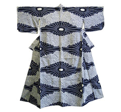 A Beautifully Graphic Mid Century Shibori Yukata: Large Scale Chrysanthemums