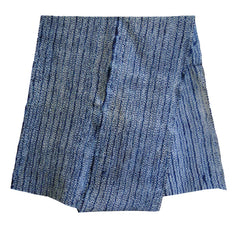 A Long Piece of Indigo Dyed Shibori Cotton: Miura Streamers