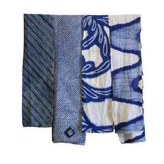 A Group of Four Different Shibori Fragments: Narrow Pieces