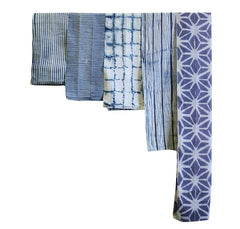 A Group of Five Shibori Pieces: Narrow Cotton and Hemp