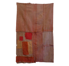 A Red and Coral Colored Cotton Boro Panel: Wonderful Color