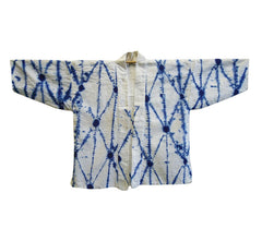 A Shirakage Shibori Jacket: Blue on White