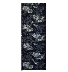 A Short Length of Indigo Dyed Katazome Cotton: Folding Fans and Chrysanthemums