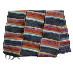 A Short Brightly Colored Sakiori Obi: Cotton Warp