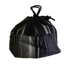A Small Piece-Constructed Drawstring Bag: Stripes