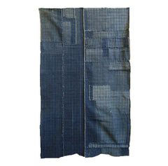 A Two Panel Indigo Dyed Boro Panel: Small Checks