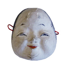 A Miniature Hand Carved Mask #2: Round Faced Otafuku