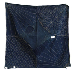 A Small, Sashiko Stitched Boro Furoshiki: Very Good Stitching