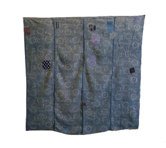 A Four Panel Katazome Boro Textile: Gauzy Cotton