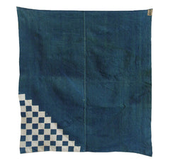 A Hand Stitched Resist Dyed Cotton Furoshiki: Stepped Corner