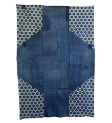 A Large Indigo Dyed Boro Cotton Futonji: Basketweave Katazome