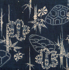 A Length of Unusually Patterned Katazome Cloth: Indigo Cotton
