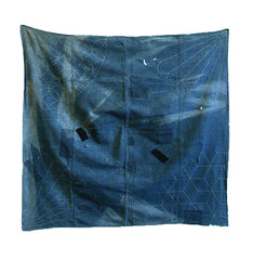An Unevenly Faded Boro Sashiko Stitched Furoshiki: Indigo Dyed Cotton
