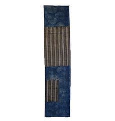 A Length of Katazome Boro Cloth: Wide Striped Patches