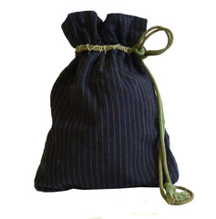 A Vintage Cotton Drawstring Bag: Subtle Stripes