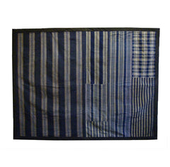 A Very Handsome and Large Piece Constructed Padded Throw: Handwoven Stripes